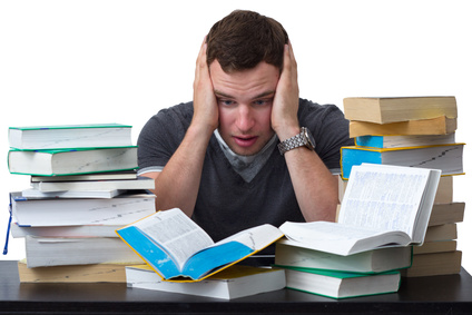Young Student overwhelmed with studying