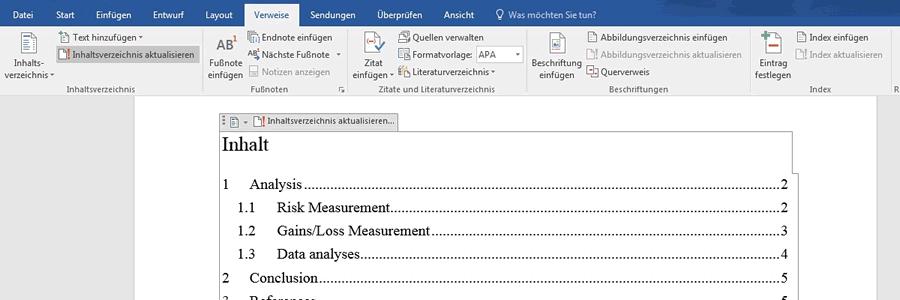 Word Inhaltsverzeichnis Aktualisieren