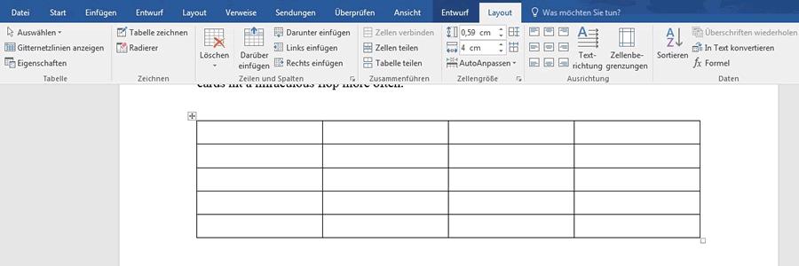 Wie kann ich eine bestehende tabelle gestalten for Tabelle muster word