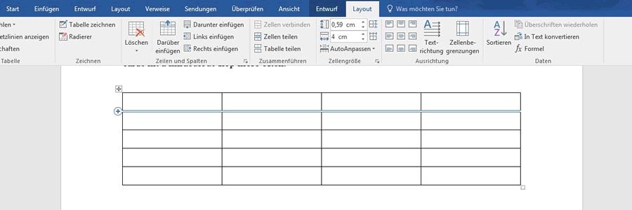 Wie f ge ich zeilen oder spalten zu meiner tabelle hinzu for Tabelle mit 9 spalten